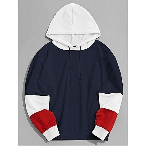 df7dfb2455af White And Red Patched Blue Hoodie