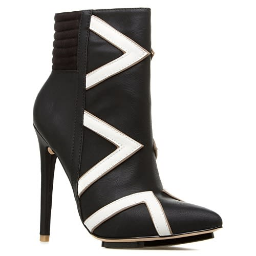 Monochrome Zebra Boot Heel - Black