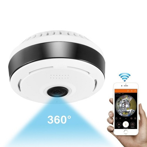 360 Degree Panoramic Wifi Indoor IP Camera With Night Vision For Large Area Monitoring