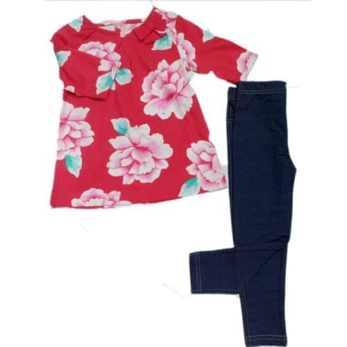 cd18a92d97bdb Carter's Toddler Girl Carter's Floral Top & Blue Leggings Set ...