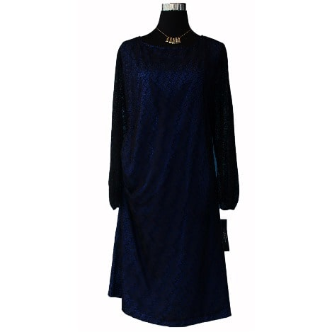 Tahari Asl Classic Lace Dress Blue