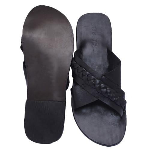 71e9b104baf Tee Mask Premium Men's Cross Woven Leather Slippers - Black + Free Gifts