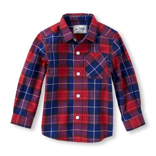 71f7538f The Childrens Place Toddler Boys' Long Sleeve Plaid Button-Down ...