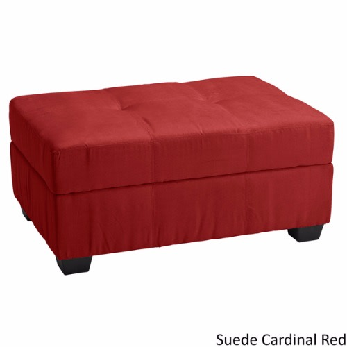 Enjoyable Tufted Panel Stitched Padded Hinged Rectangular Storage Ottoman Red Short Links Chair Design For Home Short Linksinfo