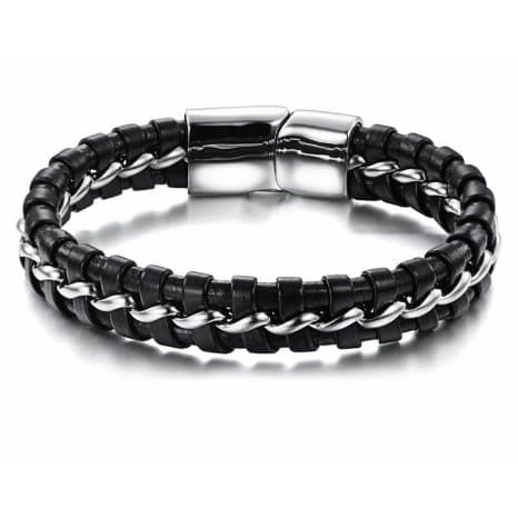 /T/w/Two-Tone-Leather-Bracelet---Silver-Black---20cm-5888036_3.jpg