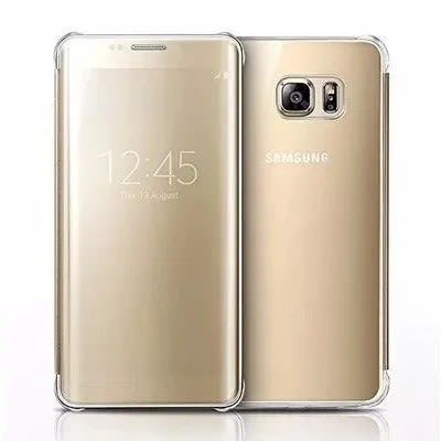 Universal Chef Clear View Flip Case For Samsung Galaxy S7 Edge Gold