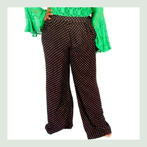 Black Polka Wide Leg Pants