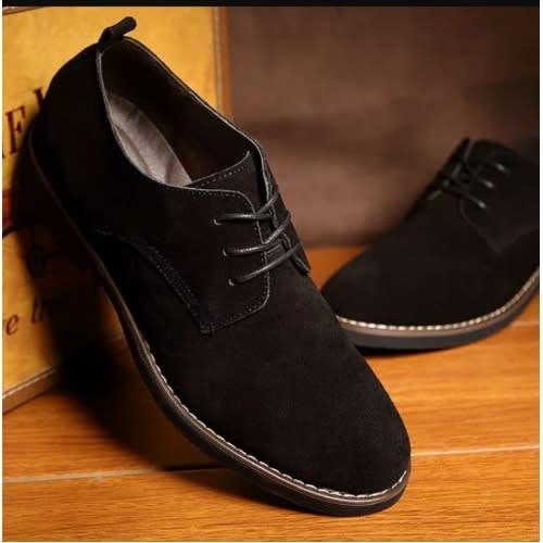 latest wholesale sales coupon codes Casual Lace Up Suede Shoes For Men- Black