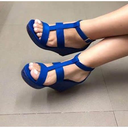 Royal Blue Ladies Wedge Sandals | Konga