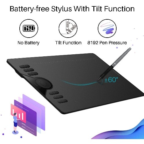 Hs610 Graphics Drawing Tablet Android Devices Supported Tilt Function  Battery-free Stylus