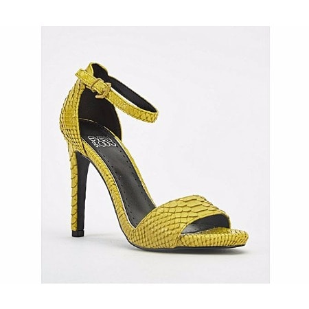 ad268865359 Mock Croc Stiletto Heeled Sandals- Yellow Size 3-8