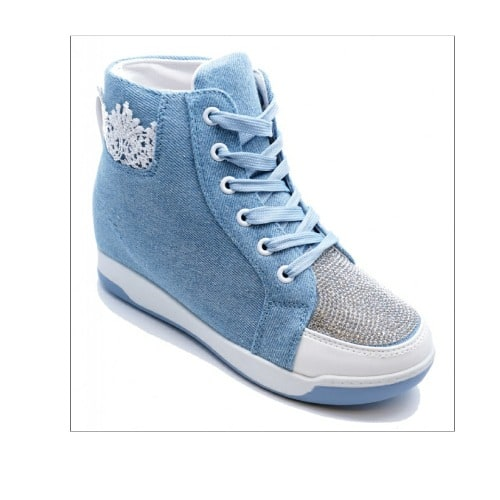 8a7dc92bd5d Ladies Blue Diamante Wedge Trainer Boots Shoes - Blue