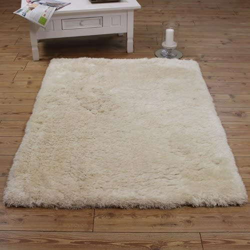 Center Rug - Fluffy Luxury Cream Shaggy Rug - 5ft x 7ft
