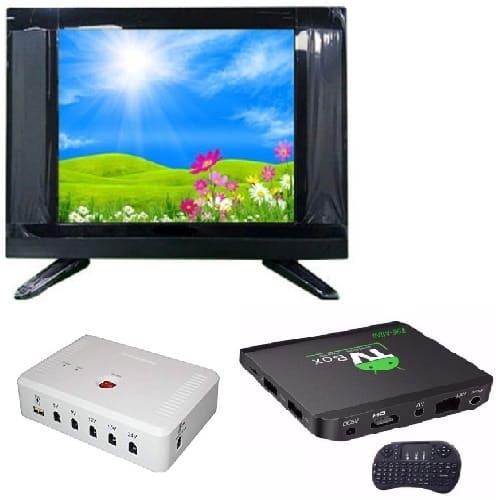 "22"" LED AC DC TV + Solar DC UPS + Android Smart TV Box"