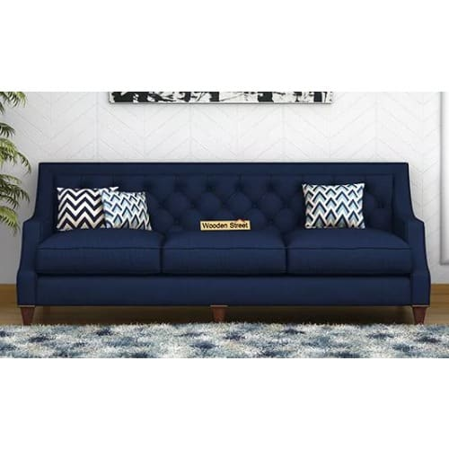 Peachy Accent 3 Seater Fabric Sofa Navy Blue Dailytribune Chair Design For Home Dailytribuneorg