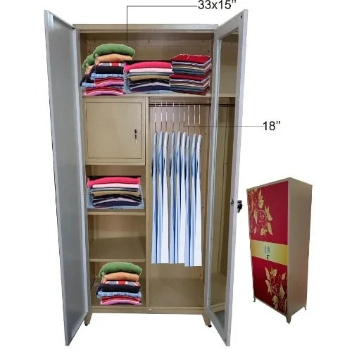 sale retailer 2efb0 328e3 Double Door Full Glass Metal Wardrobe With Inner Safety Locker .mirror