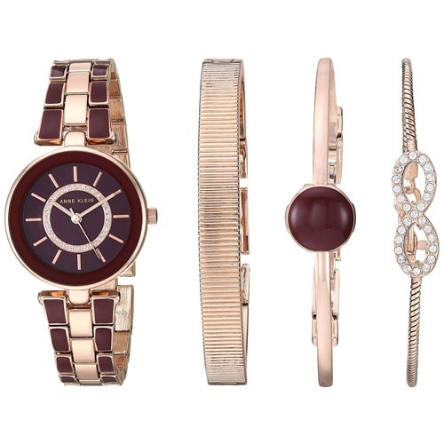 2f83094ccc7 Anne Klein. Ak/3286byst Women's Swarovski Crystal Accented Rose Gold-tone  And Burgundy Watch