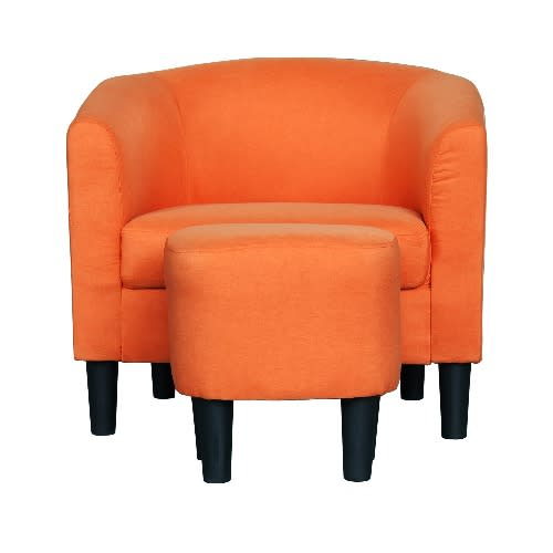 Marvelous Barrel Style Accent Chair With Ottoman Orange Bralicious Painted Fabric Chair Ideas Braliciousco