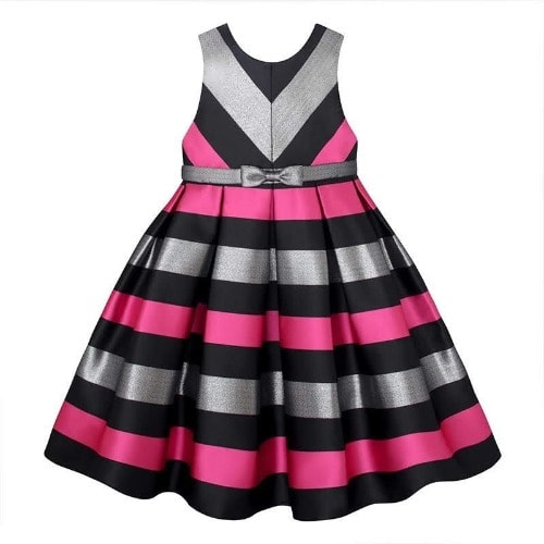 05b370542a American Princess Toddler Girls Sleeveless Metallic Stripe Dress ...