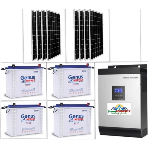 Solar Powered 5kva Inverter Installation With 4 Batteries And 8 Panels