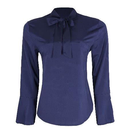 AWW Tie Neck Flare Long Sleeve Blouse. d1bdbbc44