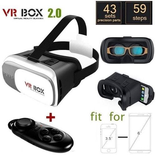 VR Box 2.0 Version VR Virtual Reality 3D Glasses + Bluetooth Controller