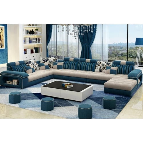 Luxury 8 Seater Sectional Sofa Set Free Center Table Multi Color