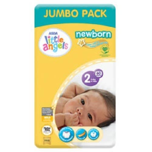 Little Angels Newborn Nappies - Size 2 - 60counts
