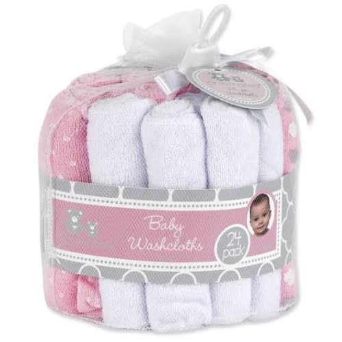 24 Pcs Baby Girl's Pink And White Washcloth