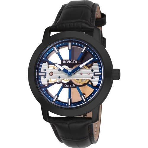 25268 Men's Objet D Art Mechanical 2 Hand Blue, Black Dial Watch