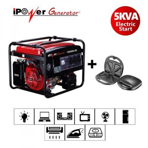 Ipower 5000d-dc 5kva/4kw Key Start Generator +FREE iTec Sandwich maker.