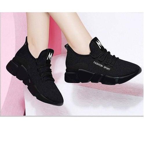 Women's Breathable Sneakers - Black