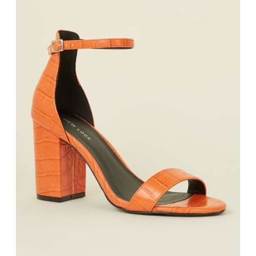 47646217462 Orange Faux Croc Block Heel Sandals