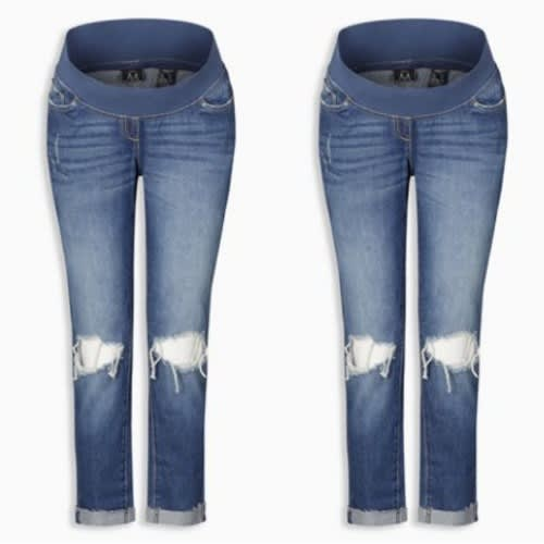 Shredered Knee Blue Maternity Jeans