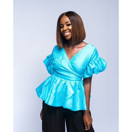 Organza Peplum Top-Blue