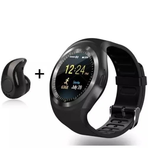 Y1 Smartwatch With Sim Card And Tfcard Space For Android And Ios + S530 Bt-  Black