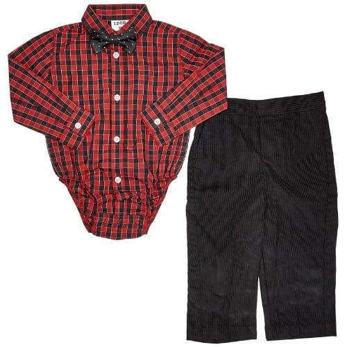 844b1152136d Izod Baby Boys Plaid Box Shirt With Corduroy Pant And Polka Dot Bow ...