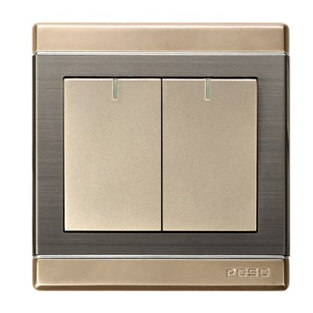 Light Switches - Poso Premium Wall Light Switches (2 Gang 1 Way)