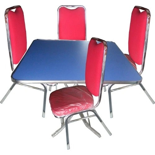 Elegant Stainless Steel Table And 4 Faric Chairs