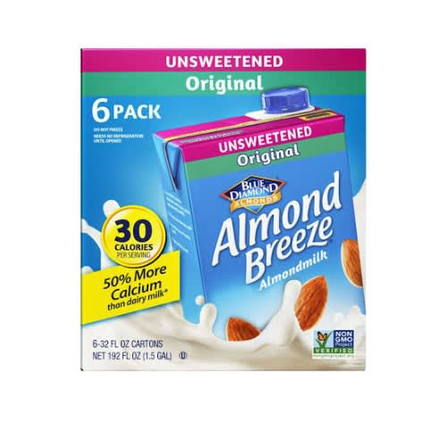 Almond Breeze Dairy Free Almond Milk, Unsweetened Original, 32 Fl Oz - Pack Of 6.