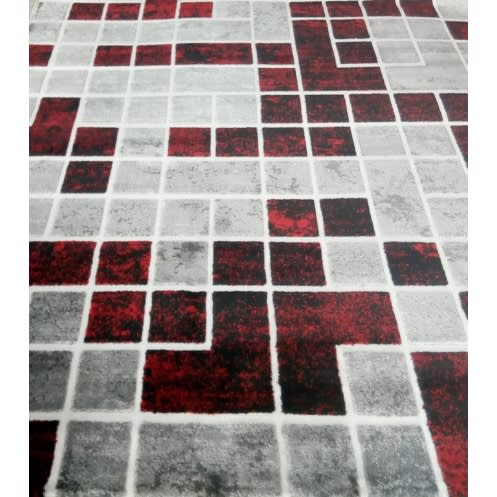 Center Rug - Grey & Red Design - 5x7ft