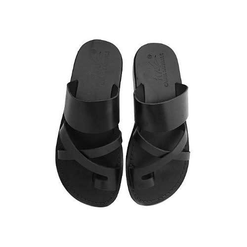 2c7c1c2d741 Men's Cross Leather Slippers - Black