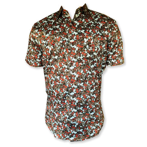 b4128fe4 Floral Patterned Short Sleeve Shirt With Red Design