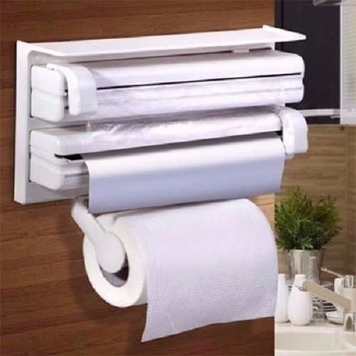 Wall Mount Triple Kitchen Paper U0026 Tissue Dispenser