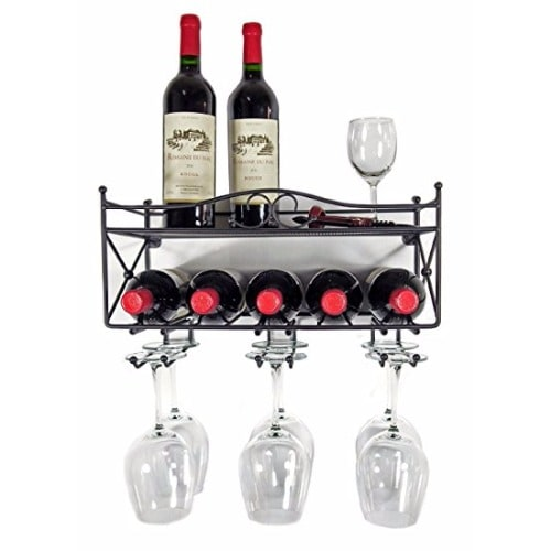 Wall Mounted Wine Rack With Shelf Stemware Glass Holder
