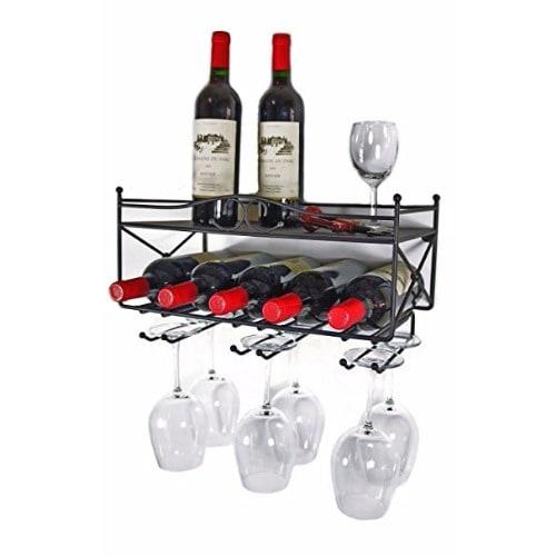 Wall Mounted Wine Rack With Shelf Stemware Glass Holder Konga