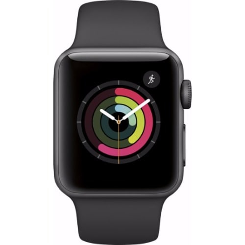 newest 0147f 7a240 Watch Series 2 42mm Aluminum Case Black Sport Band- Space Gray