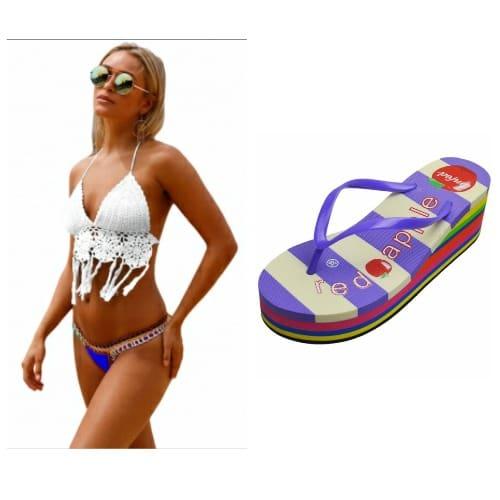 ac757a2b59 White Crochet Bikini Top with Neoprene Bottom   Free Flip Flop ...