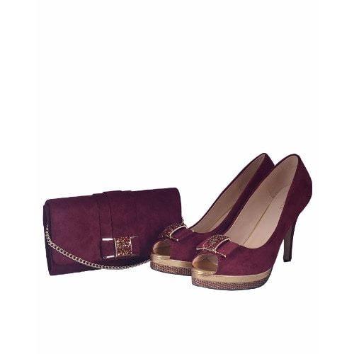 the best attitude a252b 68634 Wine Open Toe Shoe and Envelope Bag