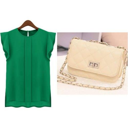 /W/o/Women-s-Chiffon-Short-Sleeve-Blouse---Green-Mini-Clutch-Purse---Beige-6663637.jpg
